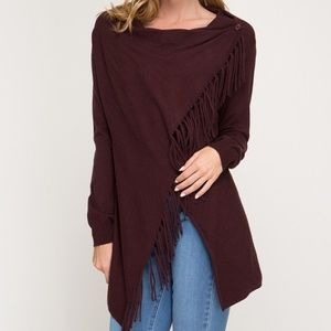 LONG SLEEVE CARDIGAN WRAP WITH FRINGE